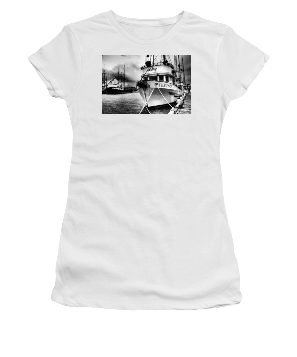 Boats Women's T-Shirt featuring the photograph Diligence Bw by Bob Christopher