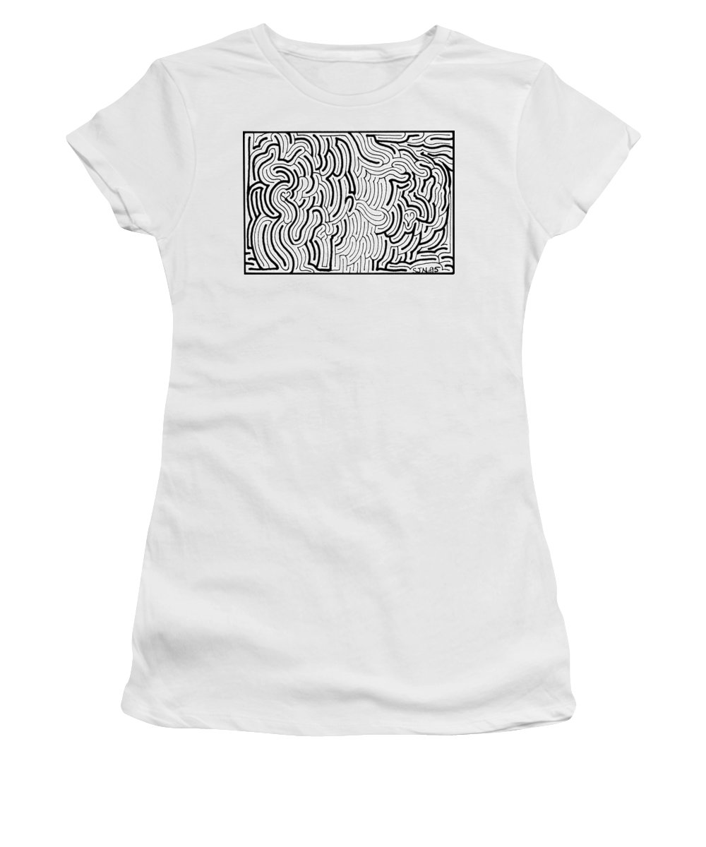 Mazes Women's T-Shirt (Athletic Fit) featuring the drawing Discordant by Steven Natanson