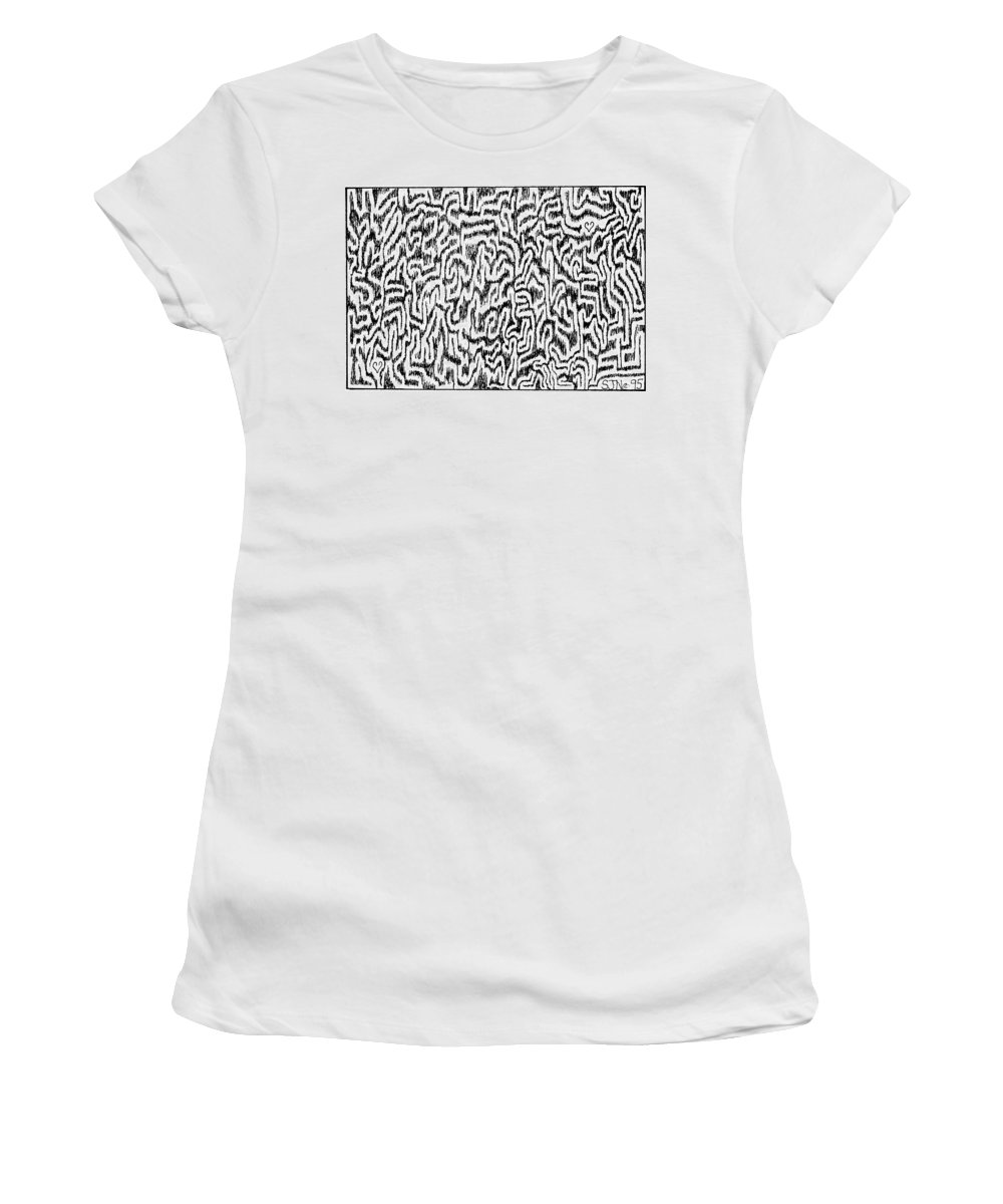Mazes Women's T-Shirt (Athletic Fit) featuring the drawing Distortion by Steven Natanson