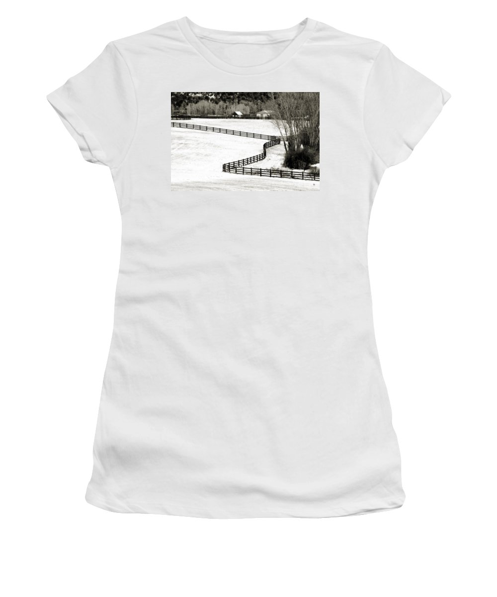 Americana Women's T-Shirt (Athletic Fit) featuring the photograph Dividing Lines by Marilyn Hunt