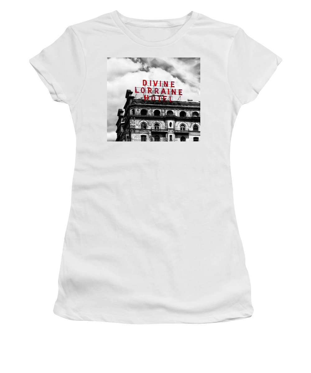 Divine Lorraine Hotel Marquee Women's T-Shirt (Athletic Fit) featuring the photograph Divine Lorraine Hotel Marquee by Bill Cannon