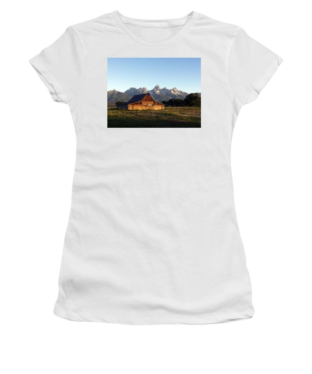 Landscape Yellowstone Grand Tetons Cabin Women's T-Shirt (Athletic Fit) featuring the photograph Dnrd0104 by Henry Butz