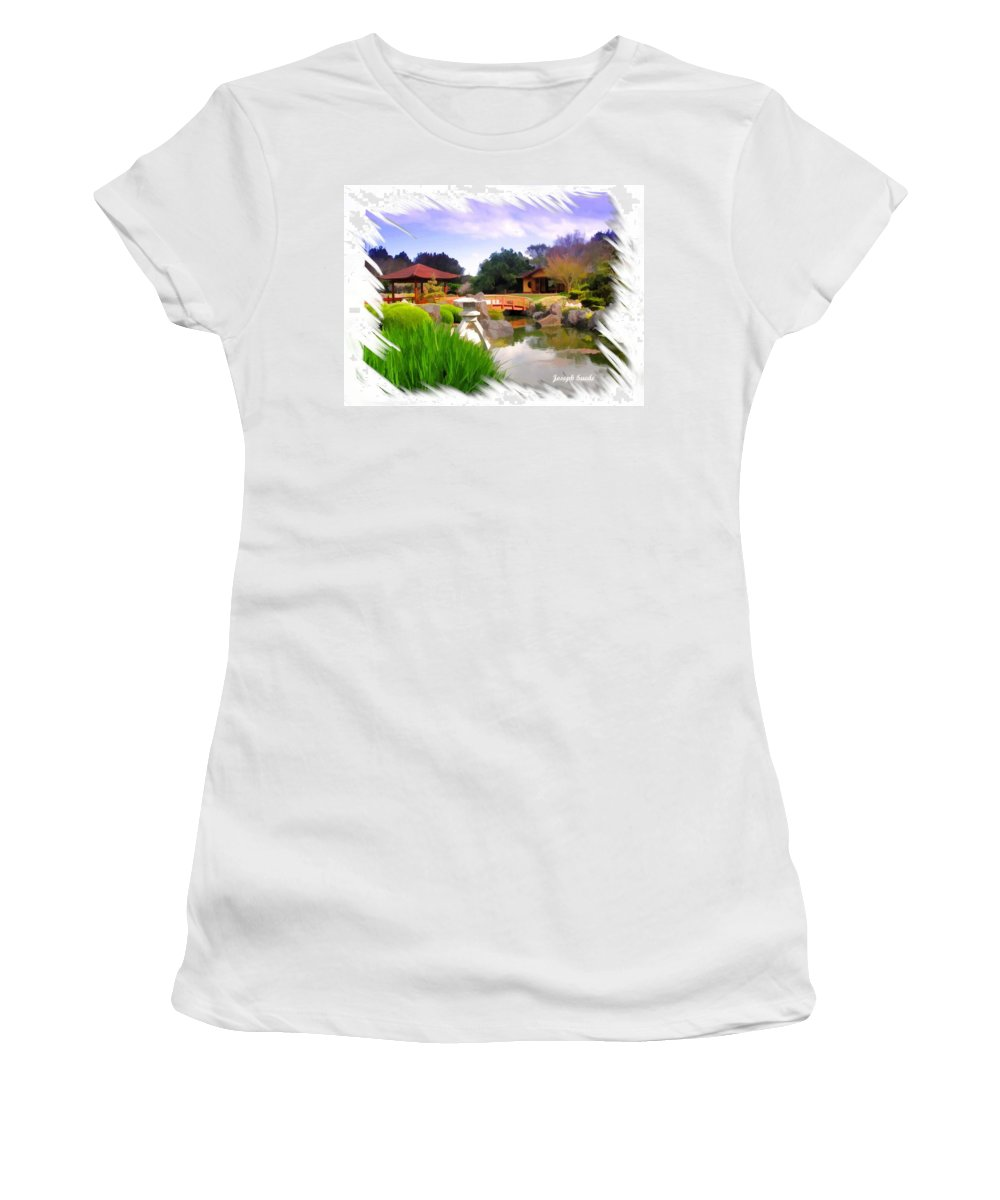 Japanese Gardens Women's T-Shirt (Athletic Fit) featuring the photograph Do-00007 Japanese Gardens by Digital Oil