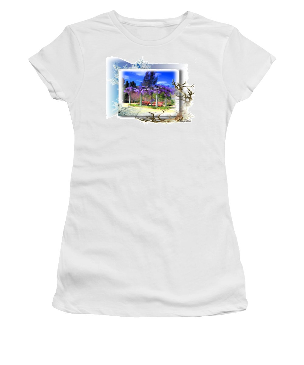 Wisteria Women's T-Shirt (Athletic Fit) featuring the photograph Do-00013 Wisteria Branches by Digital Oil