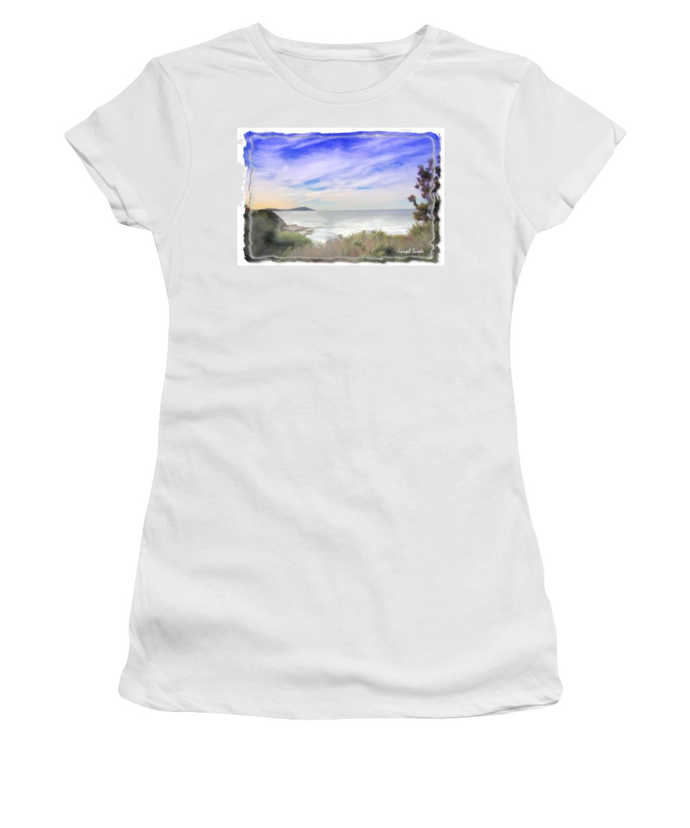 Lookout Women's T-Shirt (Athletic Fit) featuring the photograph Do-00018 Look Out At Terrigal by Digital Oil