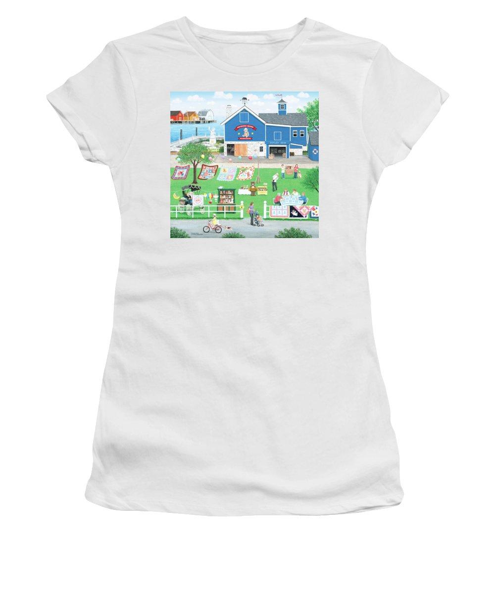 Folk Art Women's T-Shirt featuring the painting Dockside Bears by Wilfrido Limvalencia