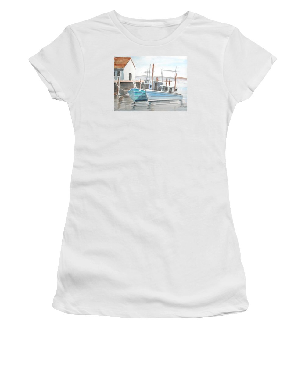Landscape Women's T-Shirt (Athletic Fit) featuring the painting Dockside by Scott Easom