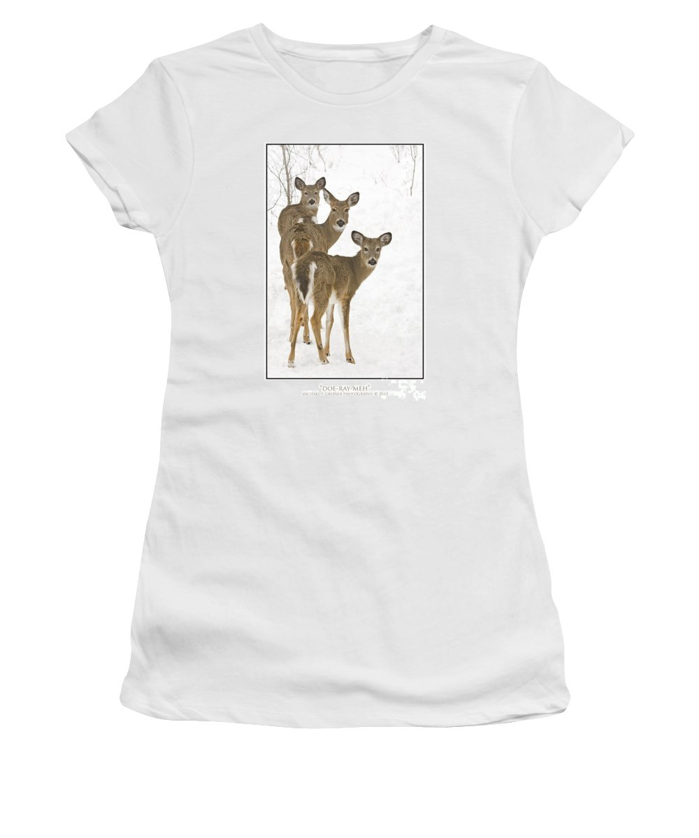 Whitetail Deer Women's T-Shirt featuring the photograph Doe-ray-meh by Michael Greiner