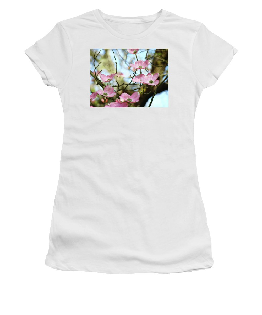 Dogwood Women's T-Shirt (Athletic Fit) featuring the photograph Dogwood Flowers Pink Dogwood Tree Landscape 9 Giclee Art Prints Baslee Troutman by Baslee Troutman