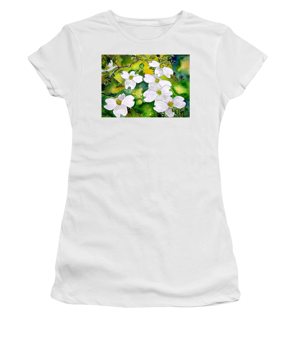 Dogwood Women's T-Shirt (Athletic Fit) featuring the painting Dogwood Tree Flowers by Derek Mccrea