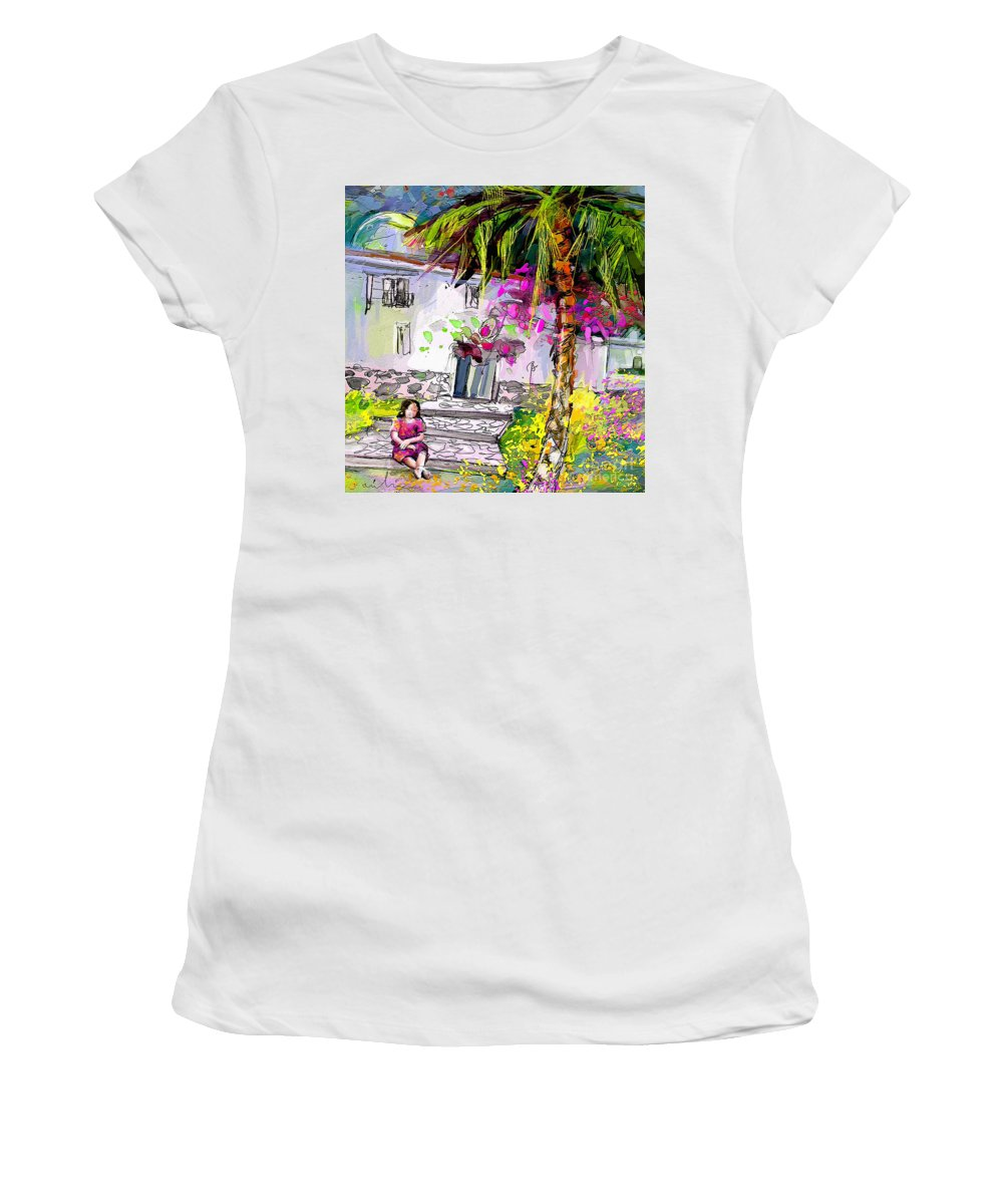 Turre Painting Women's T-Shirt (Athletic Fit) featuring the painting Doll House In Turre by Miki De Goodaboom