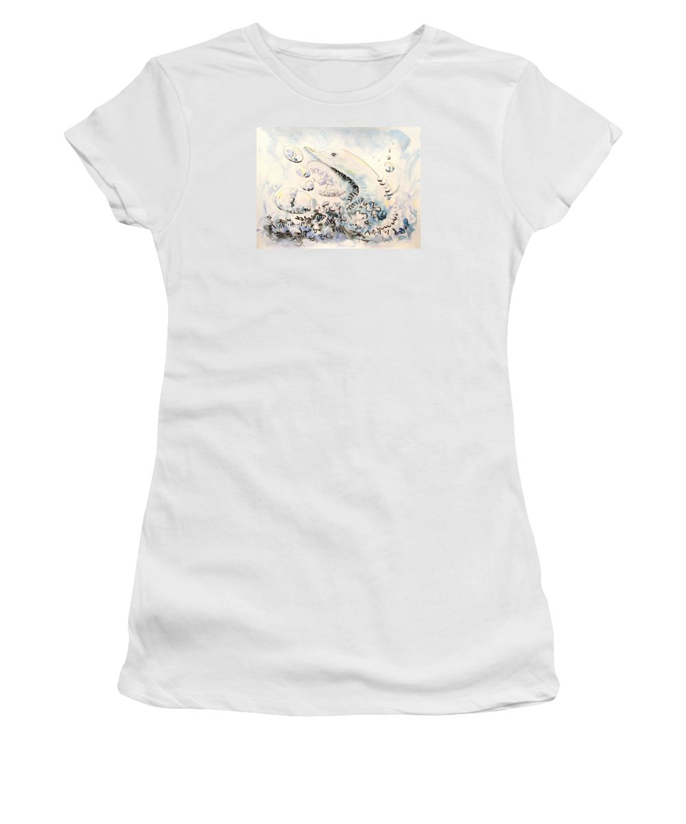 Dolphin Women's T-Shirt (Athletic Fit) featuring the painting Dolphin by Dave Martsolf