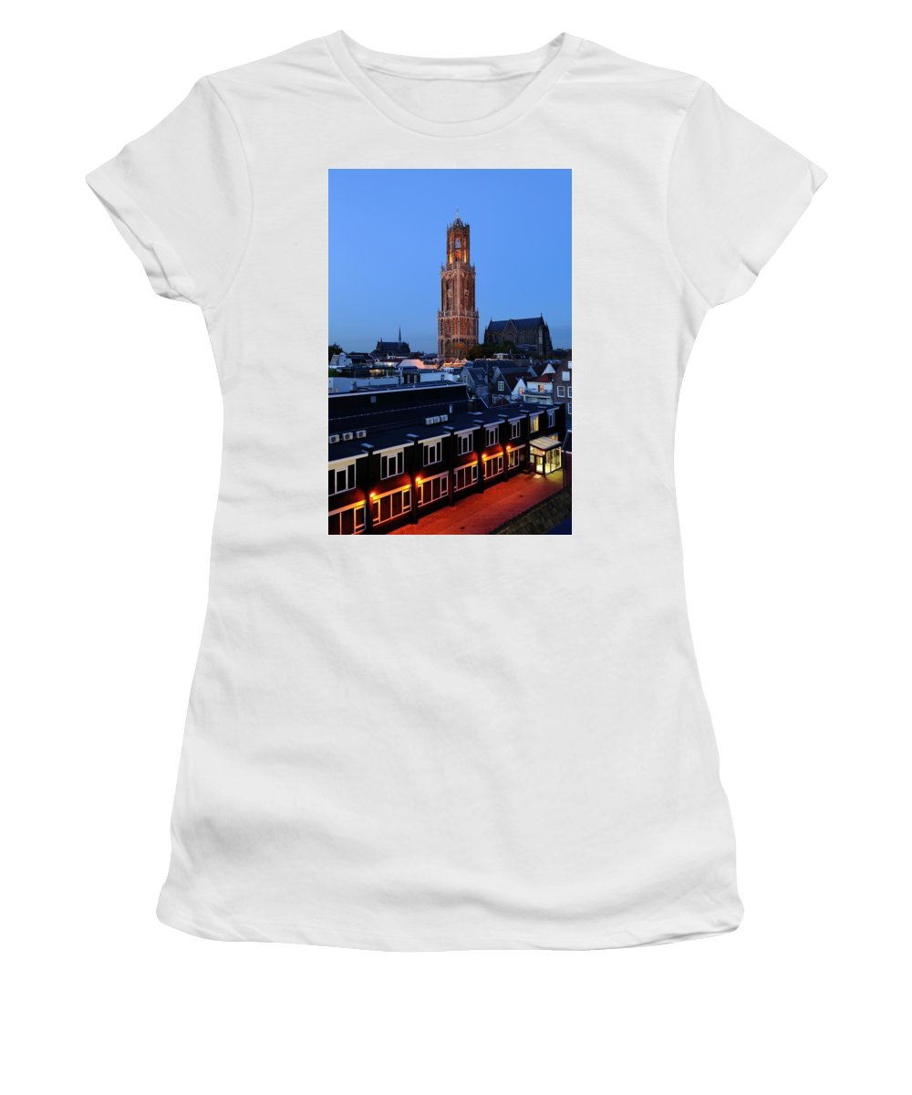 Donker Utrecht Women's T-Shirt (Athletic Fit) featuring the photograph Dom Tower In Utrecht At Dusk 24 by Merijn Van der Vliet