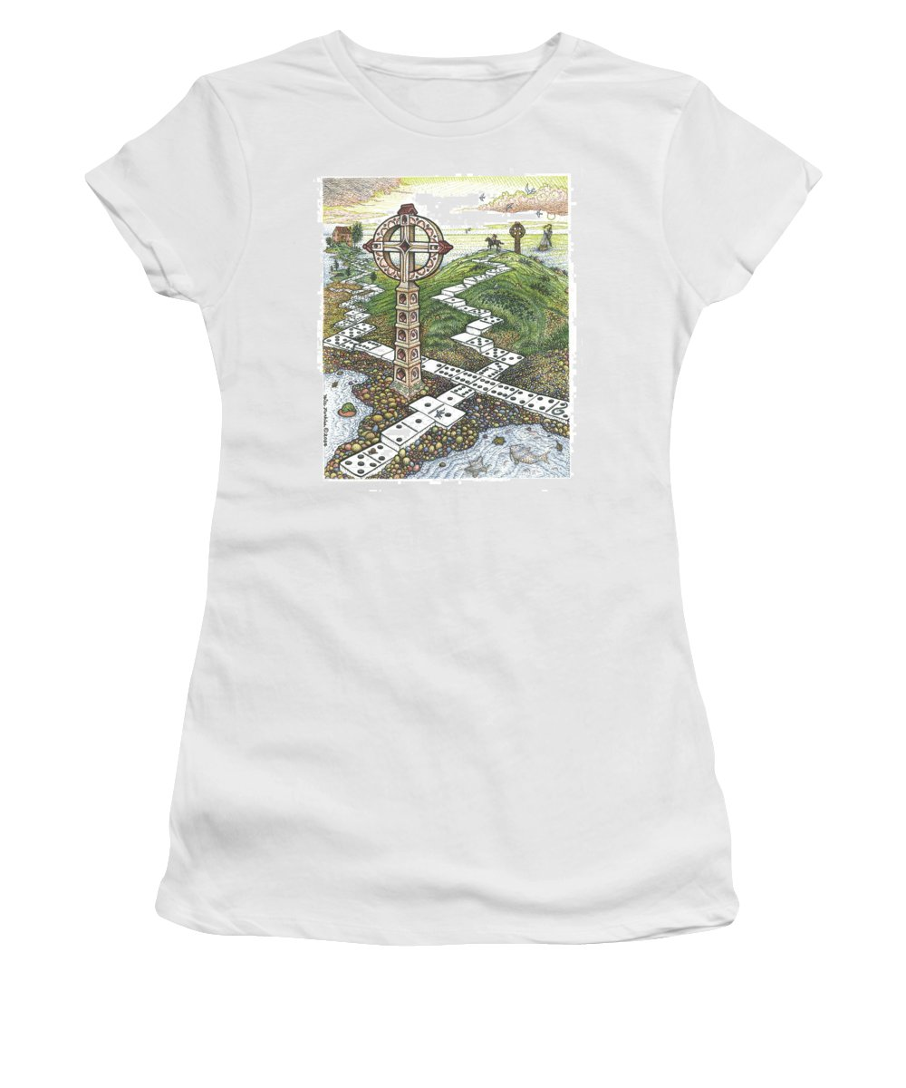 Landscape Women's T-Shirt (Athletic Fit) featuring the drawing Domino Crosses by Bill Perkins