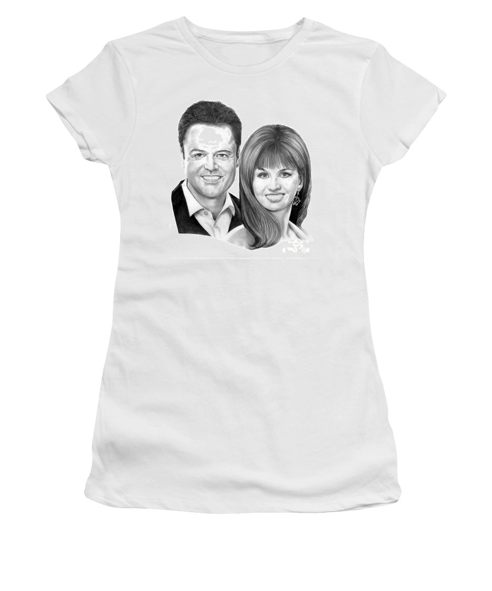 Osmonds Women's T-Shirt featuring the drawing Donnie And Marie Osmond by Murphy Elliott