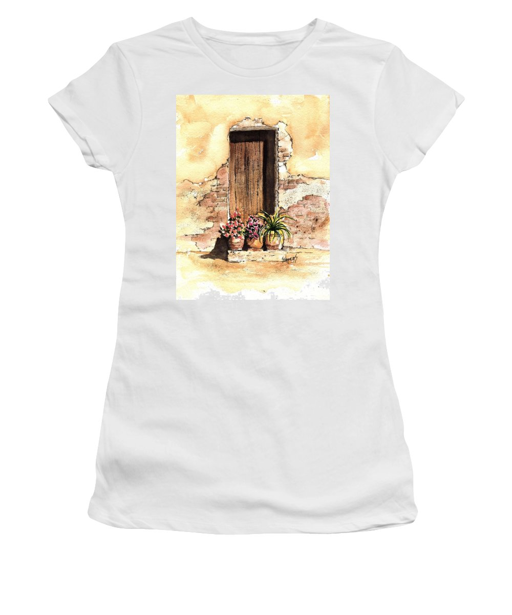 Door Women's T-Shirt (Athletic Fit) featuring the painting Door With Flowers by Sam Sidders