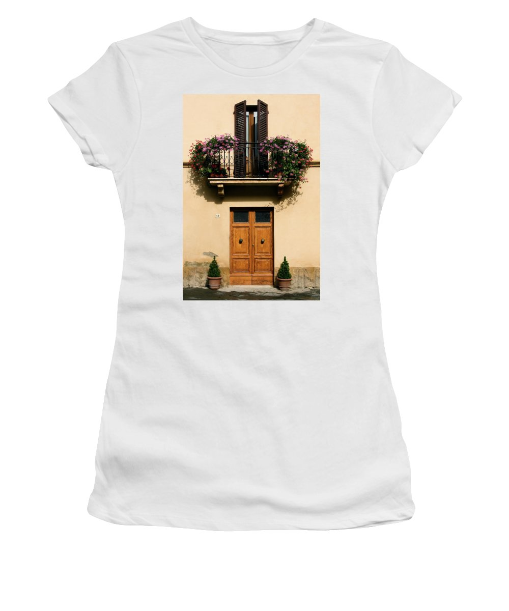 Double Wood Doors Women's T-Shirt (Athletic Fit) featuring the photograph Double Doors And Balcony by Sally Weigand