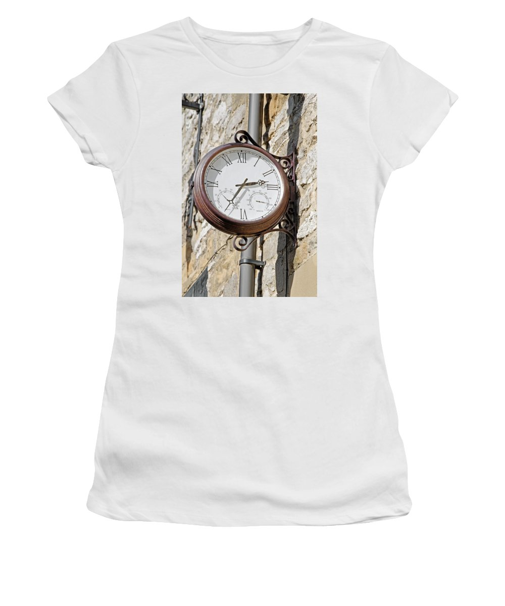 Bakewell Women's T-Shirt featuring the photograph Double Sided Station Clock - Bakewell by Rod Johnson