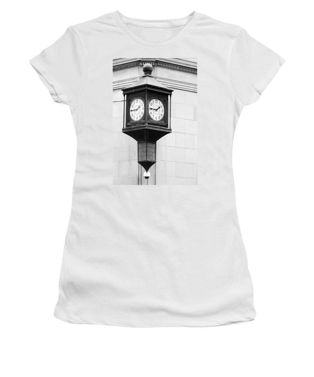 Black And White Women's T-Shirt (Athletic Fit) featuring the photograph Double Time Black And White by Jill Reger