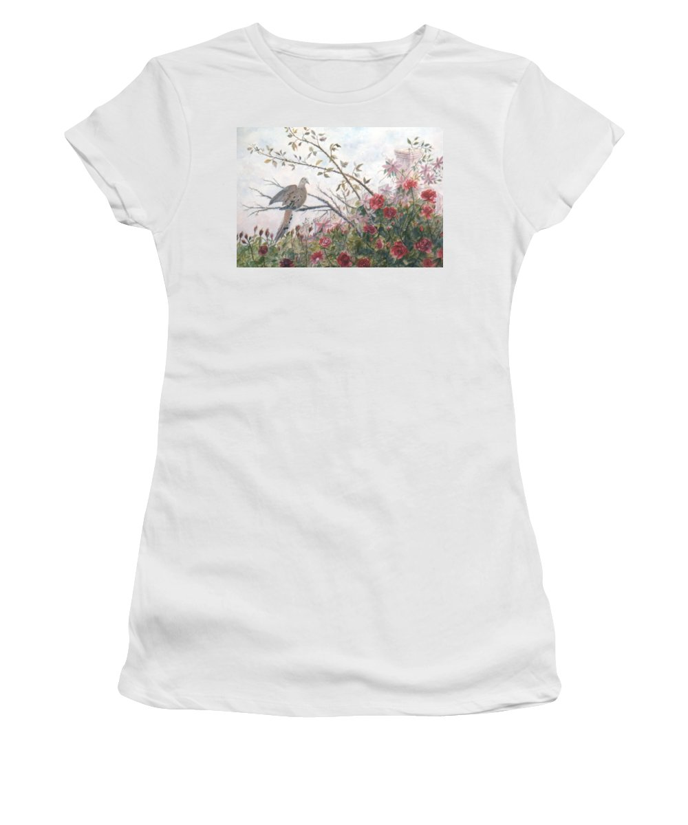 Dove; Roses Women's T-Shirt (Athletic Fit) featuring the painting Dove And Roses by Ben Kiger