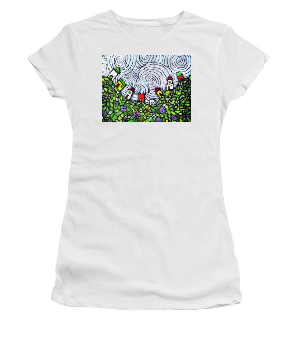 Folk Art Women's T-Shirt (Athletic Fit) featuring the painting Down In The Valley by Wayne Potrafka