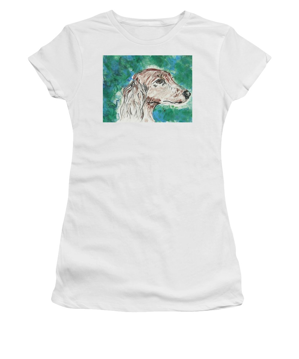 Hand Pulled Print Women's T-Shirt (Athletic Fit) featuring the mixed media Doxie Blues by Cori Solomon