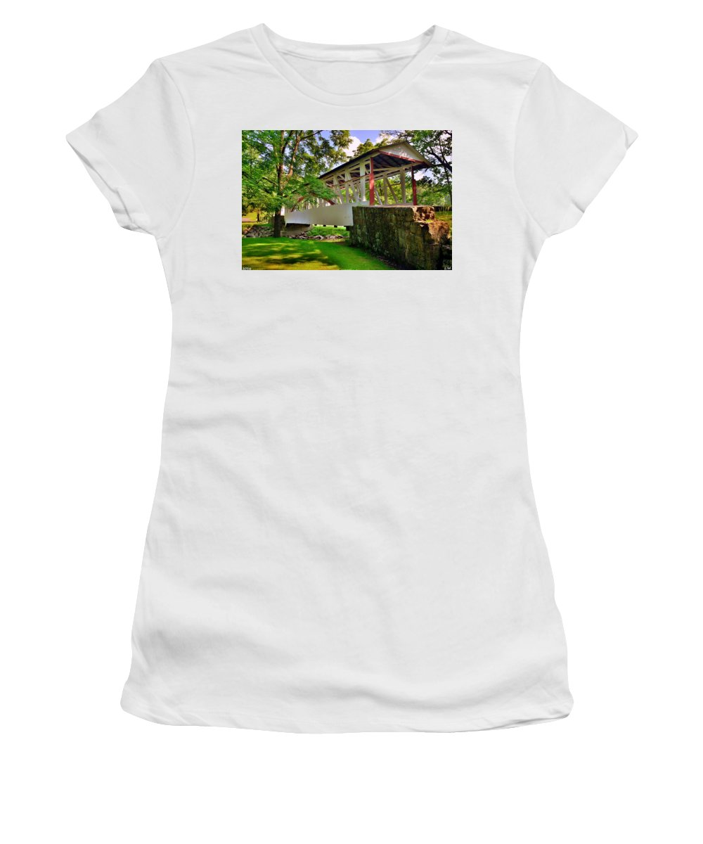 Dr. Knisley Covered Bridge Women's T-Shirt (Athletic Fit) featuring the photograph Dr. Knisley Covered Bridge by Lisa Wooten