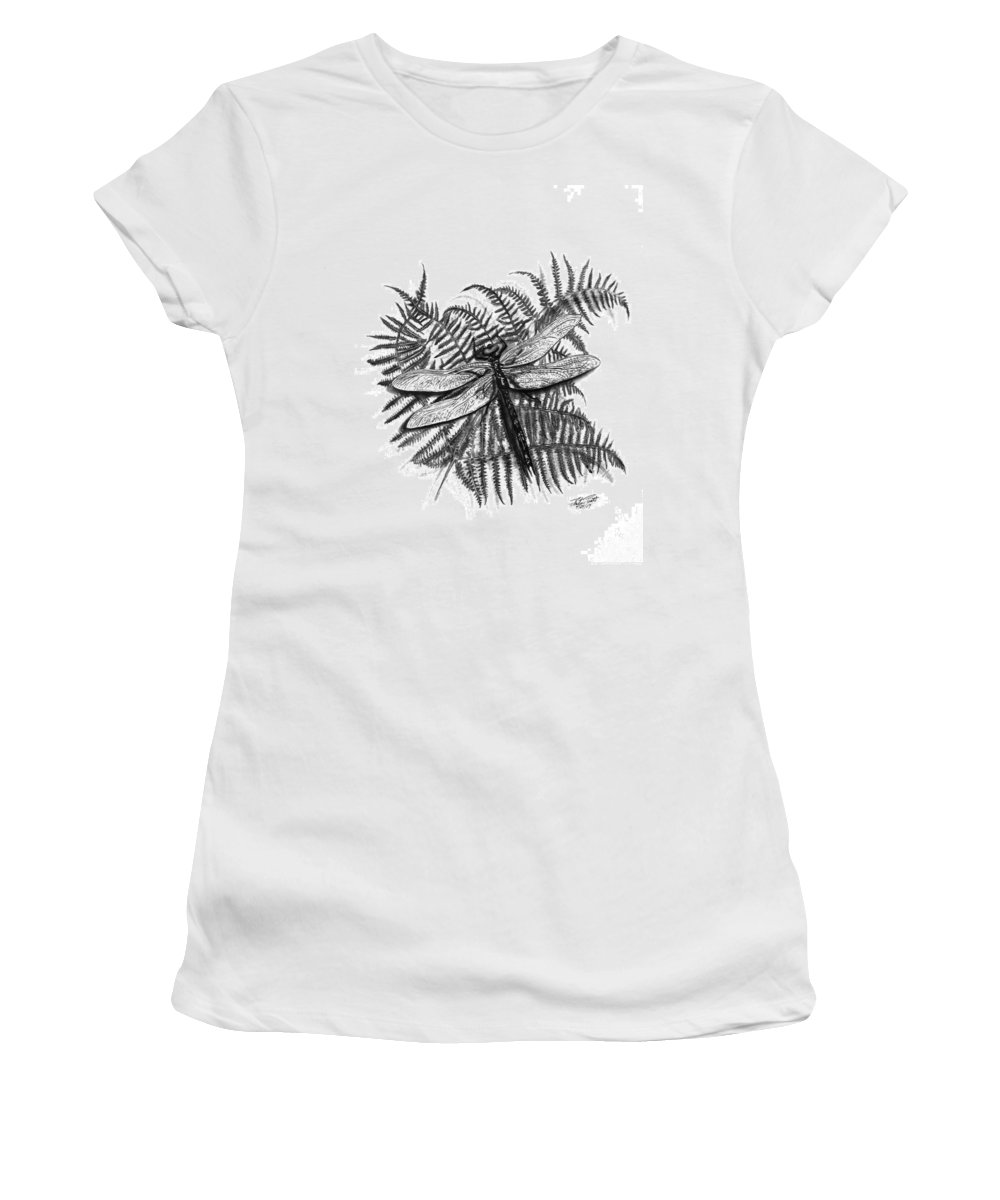 Dragonfly Women's T-Shirt (Athletic Fit) featuring the drawing Dragonfly by Peter Piatt