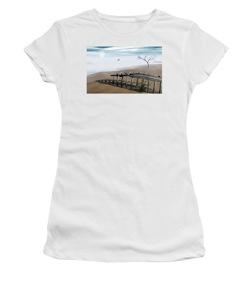 Surreal Women's T-Shirt (Athletic Fit) featuring the digital art Dream Lake by Richard Rizzo