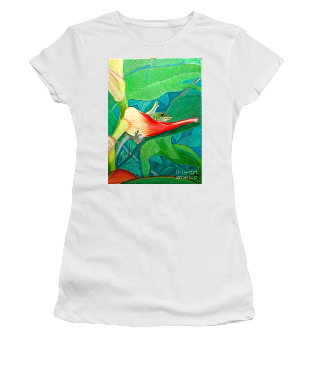 Dream Time Women's T-Shirt (Athletic Fit) featuring the painting Dream Time-2015 by Novely Fleck
