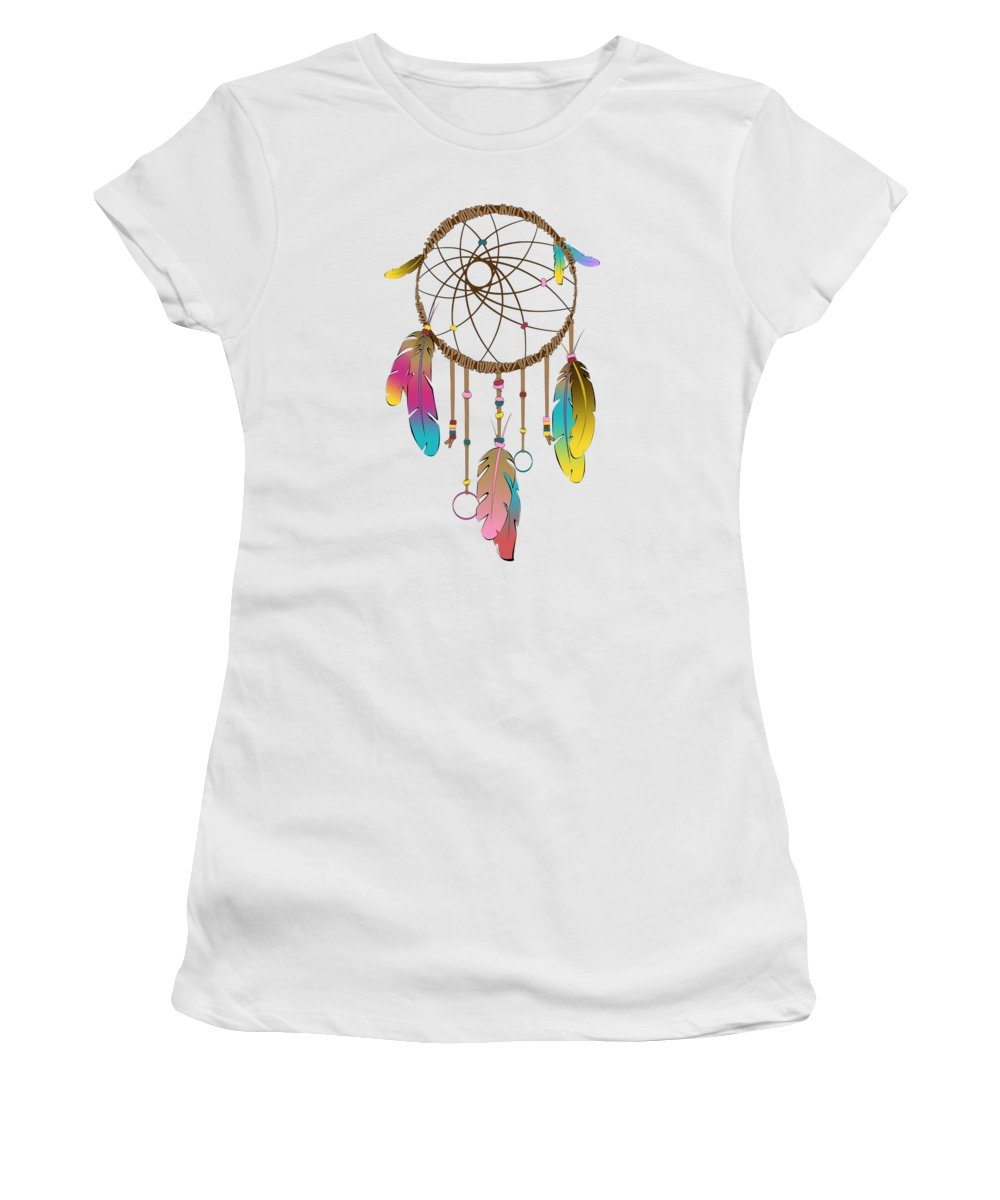 Dreamcatcher Women's T-Shirt featuring the digital art Dreamcatcher Rainbow by Vanessa-May Dolphin