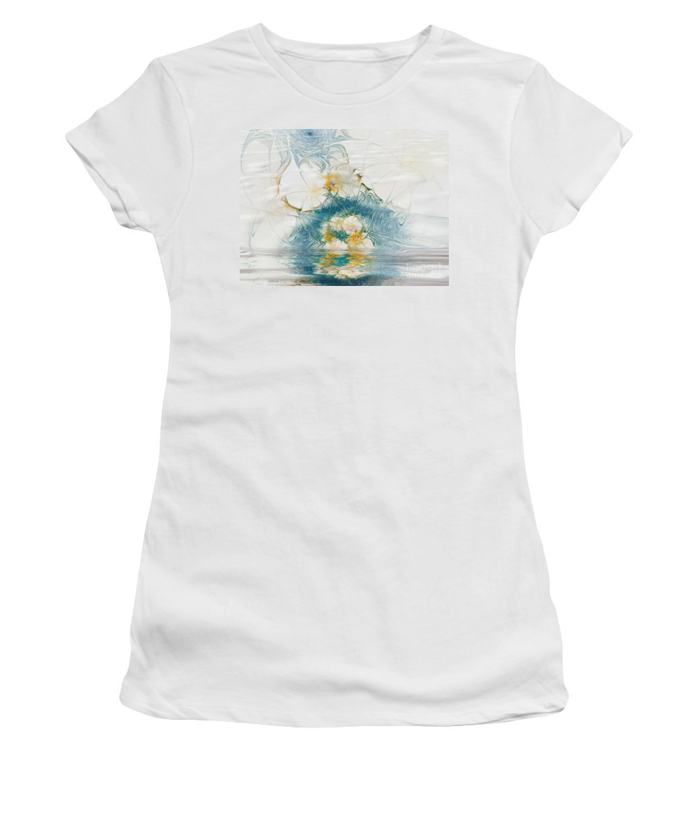 Fractal Women's T-Shirt (Athletic Fit) featuring the digital art Dreamy World In Blue by Deborah Benoit
