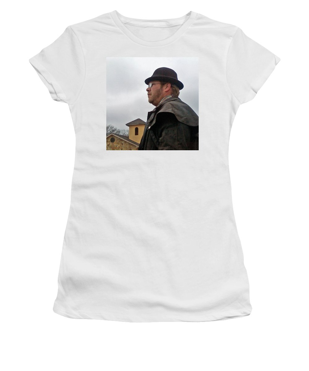Bowler Cowboy Duster Women's T-Shirt (Athletic Fit) featuring the photograph Dreary Day by Cindy New