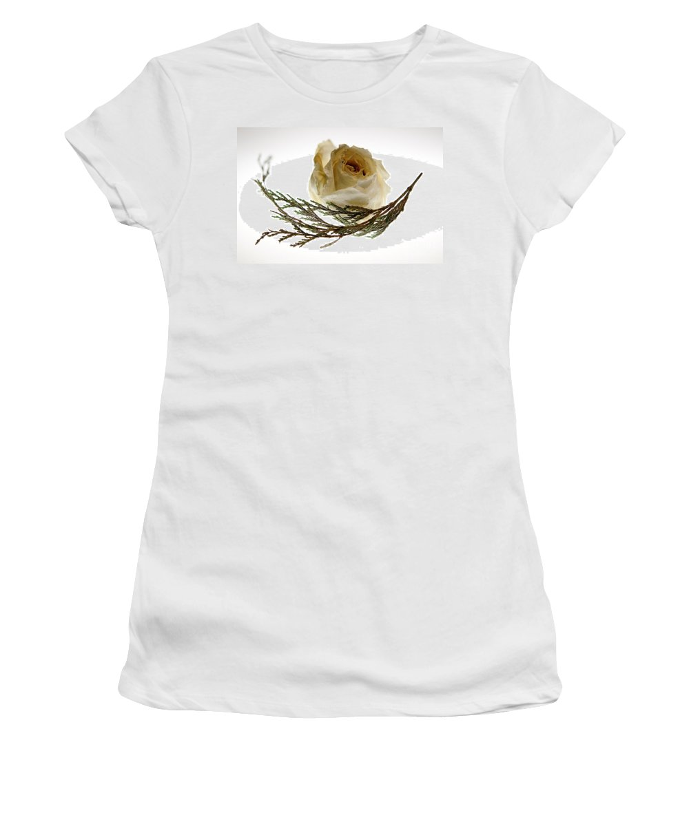 Rose Women's T-Shirt (Athletic Fit) featuring the photograph Dried White Rose by Lois Bryan
