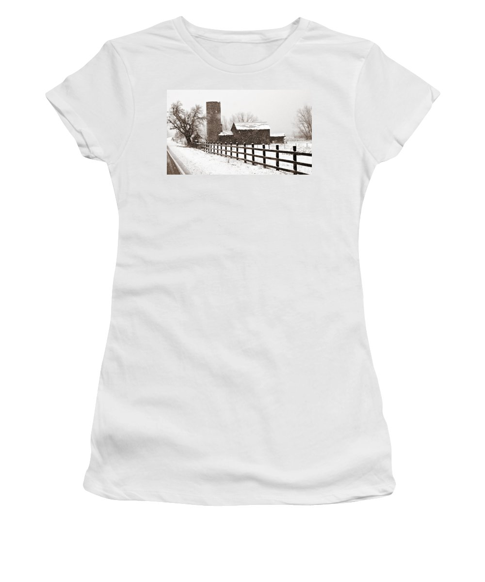 Americana Women's T-Shirt (Athletic Fit) featuring the photograph Driving Down Cherryvale by Marilyn Hunt