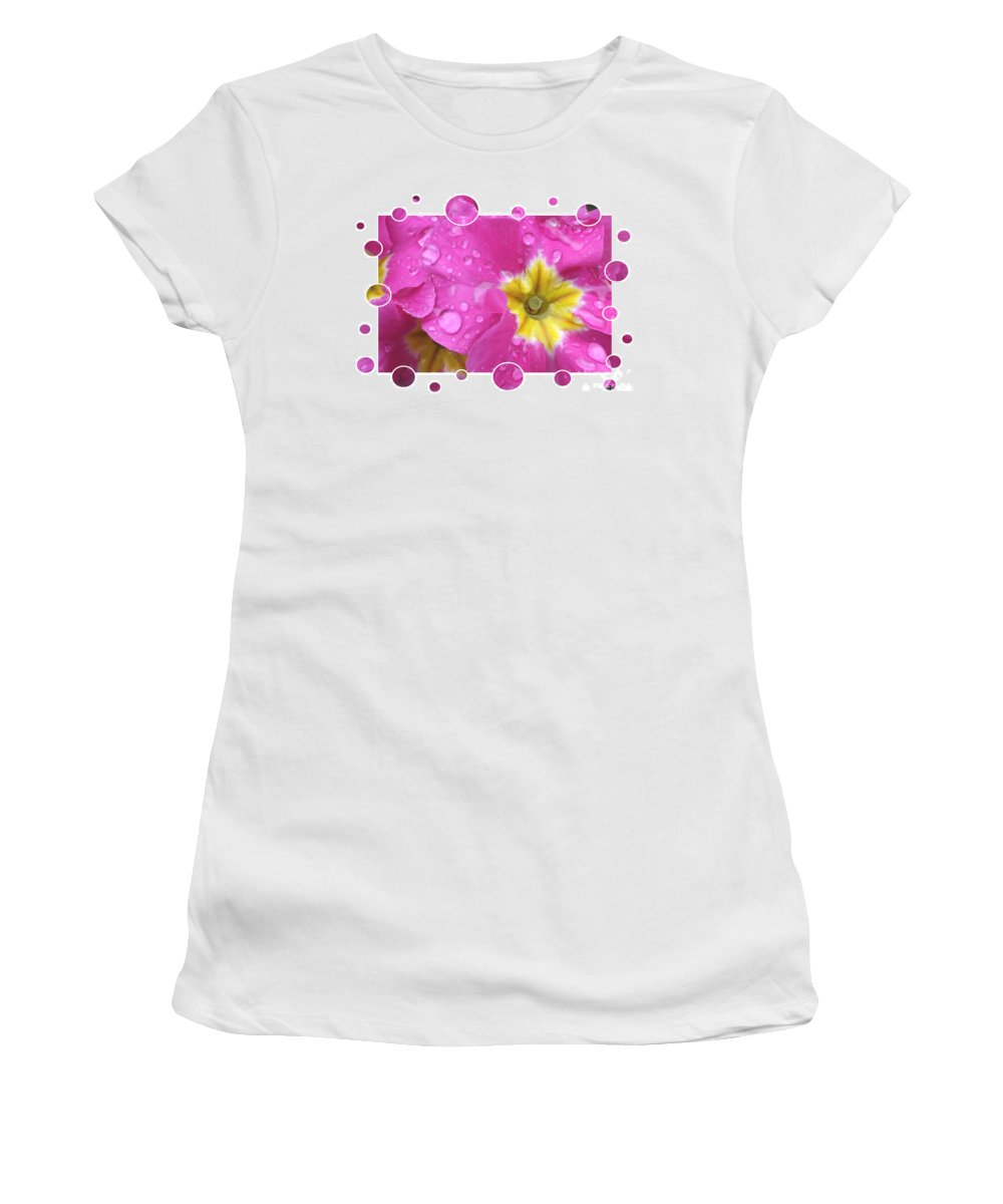 Fun Women's T-Shirt (Athletic Fit) featuring the photograph Bubbly Pink Raindrops by Carol Groenen
