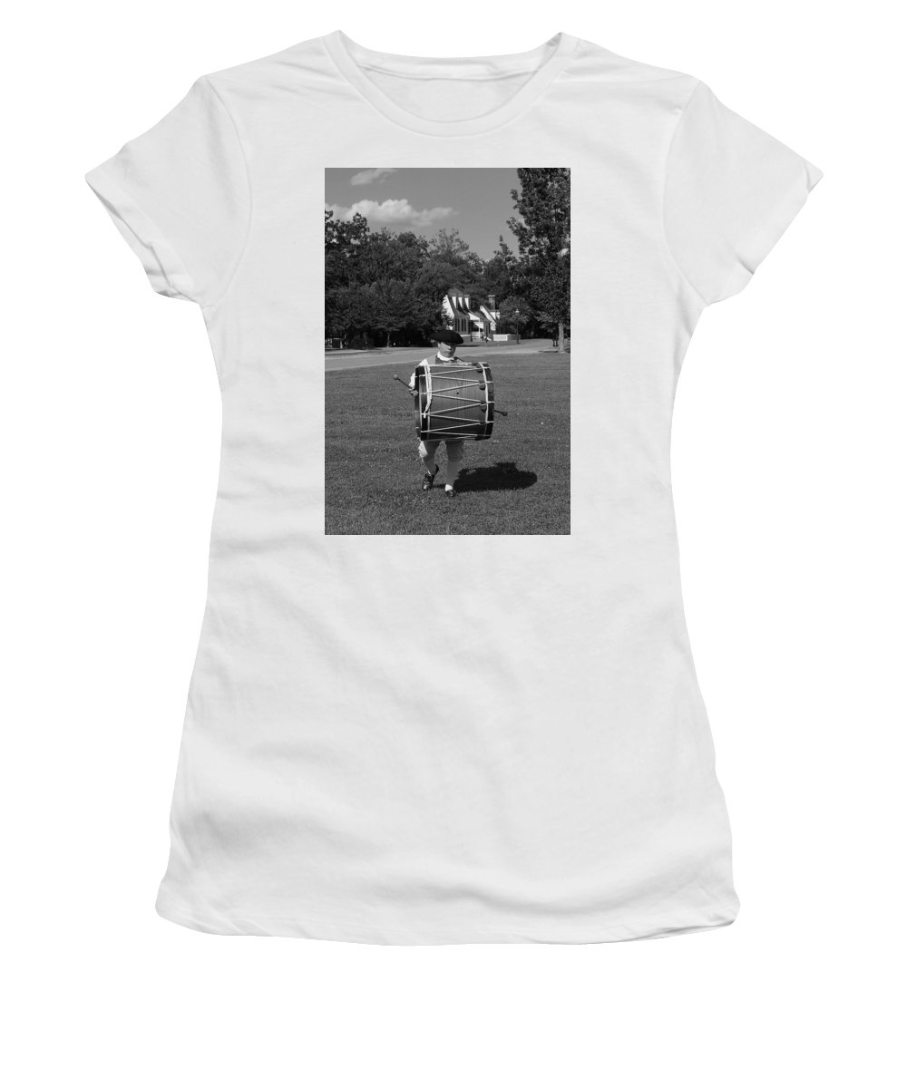 Colonial Women's T-Shirt (Athletic Fit) featuring the photograph Drummer Boy by Eric Liller