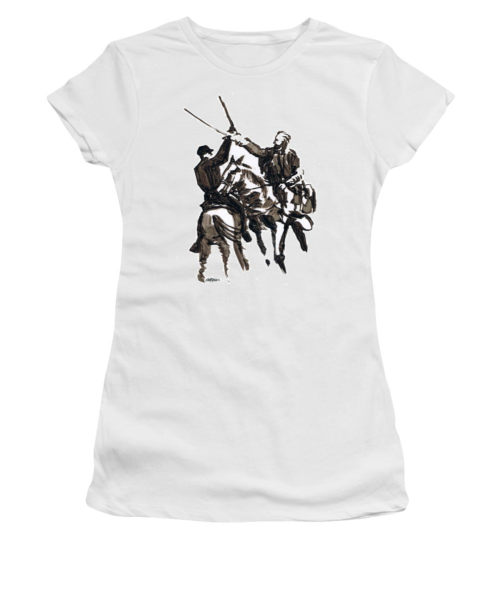 Civil War Women's T-Shirt (Athletic Fit) featuring the drawing Dueling Sabres by Seth Weaver