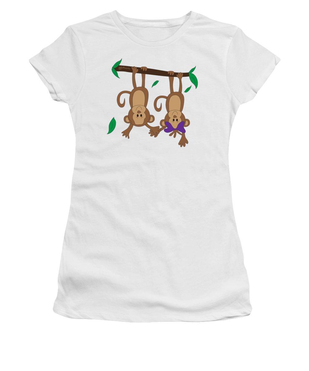 Monkeys Women's T-Shirt featuring the digital art Duffworkscreative_monkeyfunlove_holdinghands by Laura Duffy