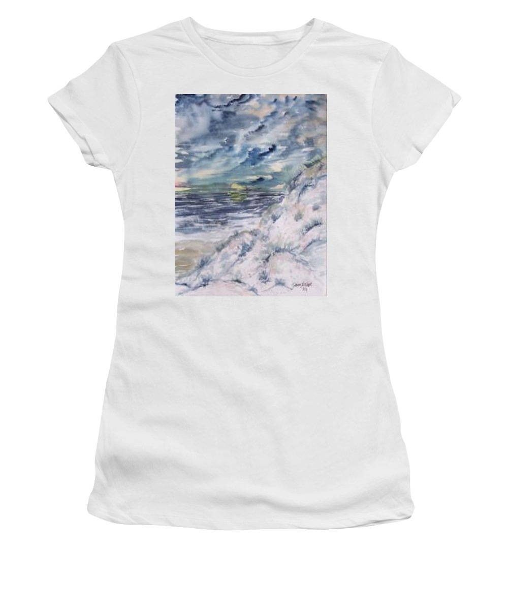 Seascape Women's T-Shirt (Athletic Fit) featuring the painting Dunes 2 Seascape Painting Poster Print by Derek Mccrea