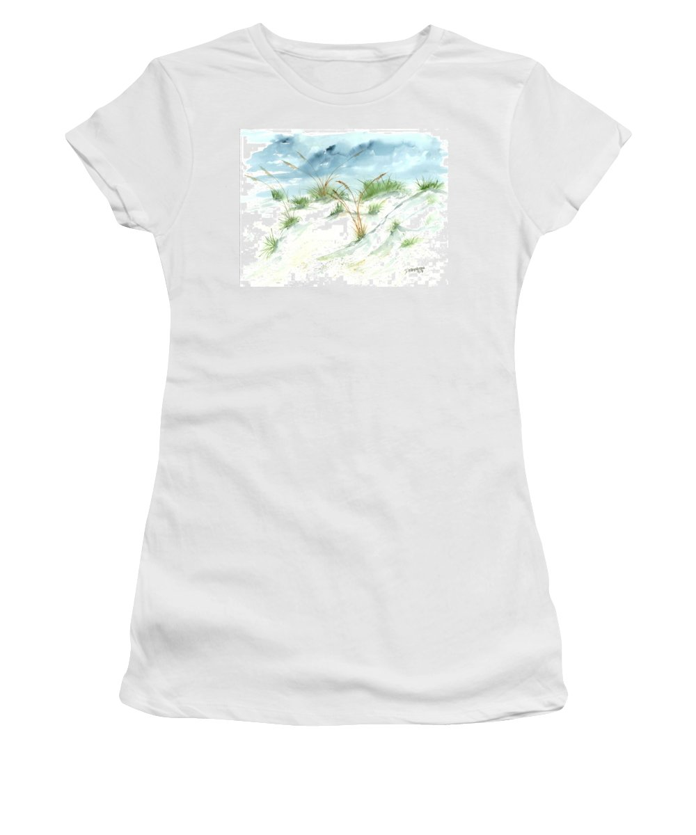 Beach Women's T-Shirt (Athletic Fit) featuring the painting Dunes 3 Seascape Beach Painting Print by Derek Mccrea