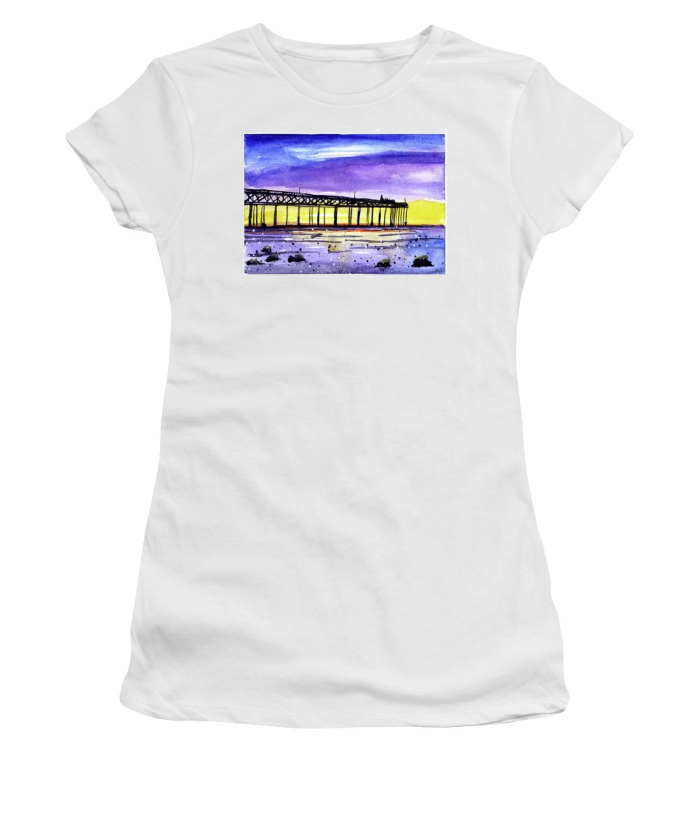 Watercolor Women's T-Shirt (Athletic Fit) featuring the painting Dusk Pier by Tonya Doughty