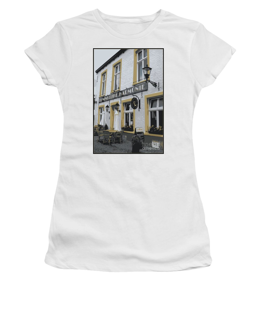 Gray And Yellow Women's T-Shirt (Athletic Fit) featuring the photograph Dutch Cafe - Digital by Carol Groenen