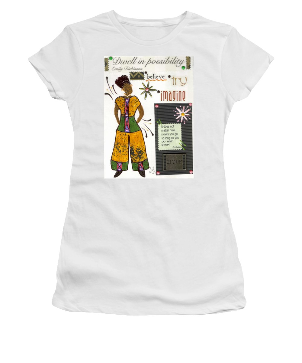Gretting Cards Women's T-Shirt (Athletic Fit) featuring the mixed media Dwell In Possibility by Angela L Walker