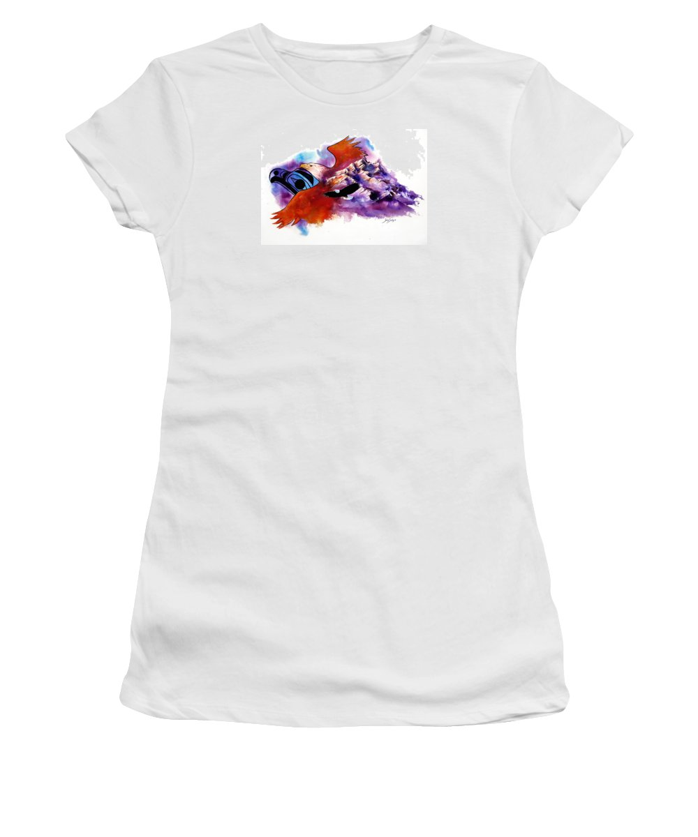 Bird Women's T-Shirt (Athletic Fit) featuring the painting Eagle Rise by Sherry Shipley