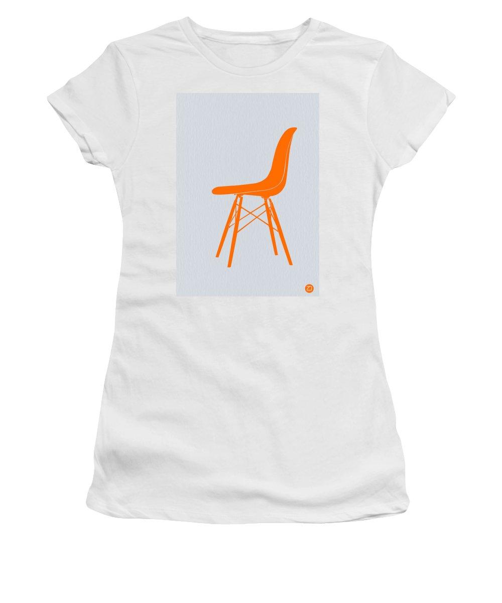 Eames Chair Women's T-Shirt featuring the digital art Eames Fiberglass Chair Orange by Naxart Studio