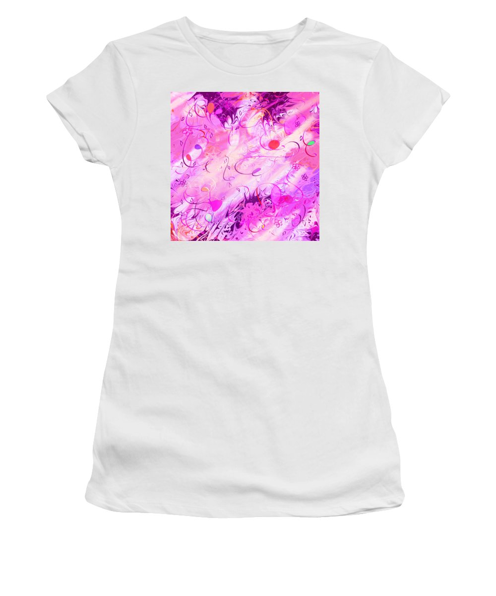 Abstract Women's T-Shirt (Athletic Fit) featuring the digital art Early Celebration by Rachel Christine Nowicki
