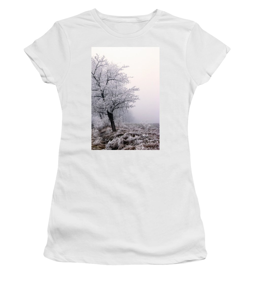 Frost Women's T-Shirt (Athletic Fit) featuring the photograph Early Morning Frost by Cliff Norton