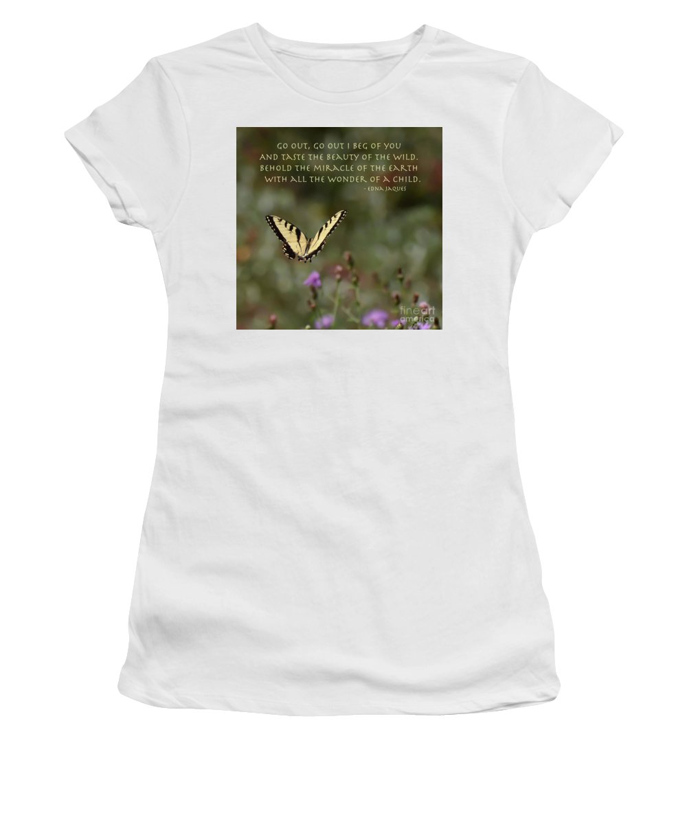 Eastern Tiger Swallowtail Butterfly Women's T-Shirt featuring the photograph Eastern Tiger Swallowtail Butterfly - The Beauty Of The Wild by Kerri Farley