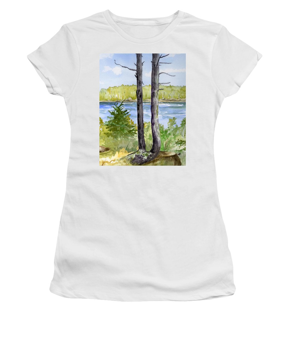 Landscape Seascape Trees Ocean Sea Maine Women's T-Shirt (Athletic Fit) featuring the painting Eastport Maine Coastal Afternoon by Brenda Owen